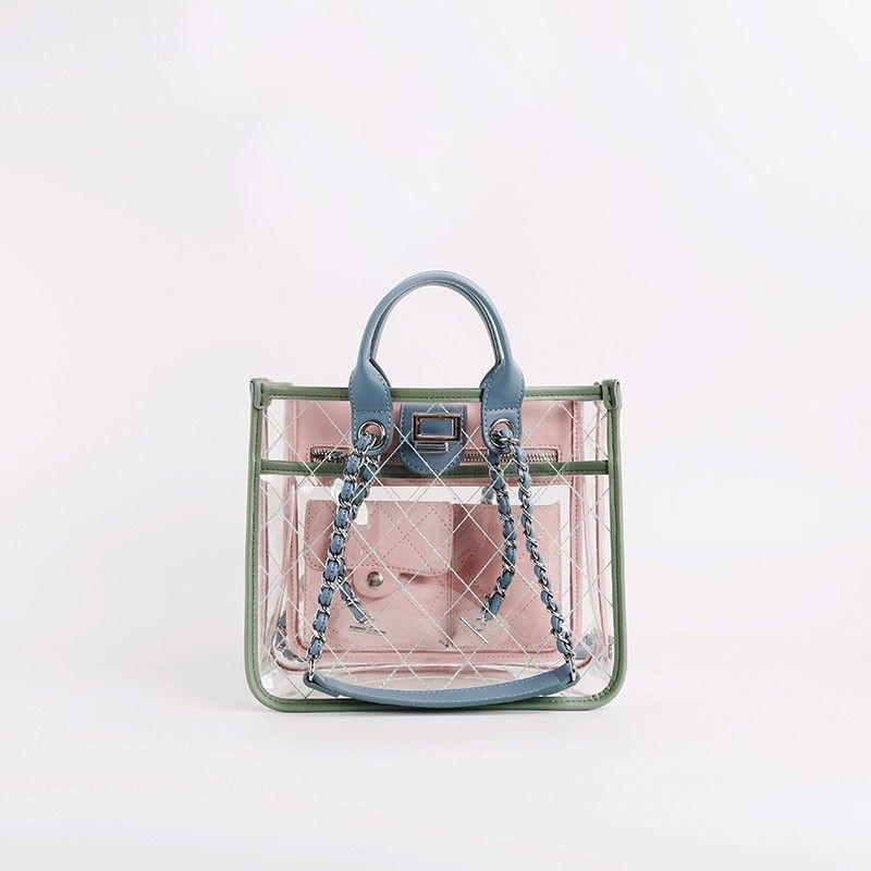 4f4db32a45cf Ling Plaid Clear Purse Transparent Shoulder Bag | Mens Leather ...