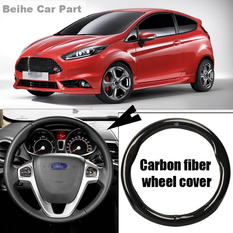For Ford Fiesta High Quality 38cm Carbon Fiber Leather Steering Wheel Sport Racing Steering Wheel Cover Steering Wheel Cover Steering Wheel Wheel Cover