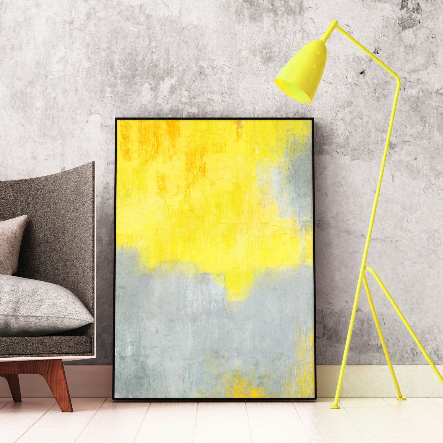 Yellow and Grey Abstract Art, Yellow Art, Printable Minimalist Decor ...