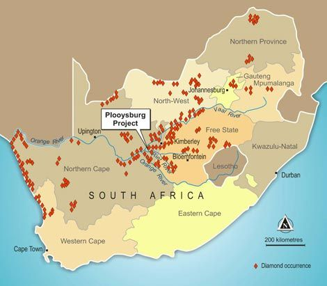 Image result for diamants of lesotho and south africa map