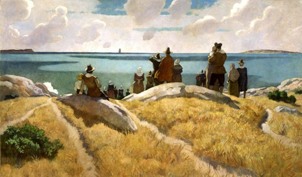 Detail N C Wyeth Mural Depicting The Early Pilgrims 1940s New