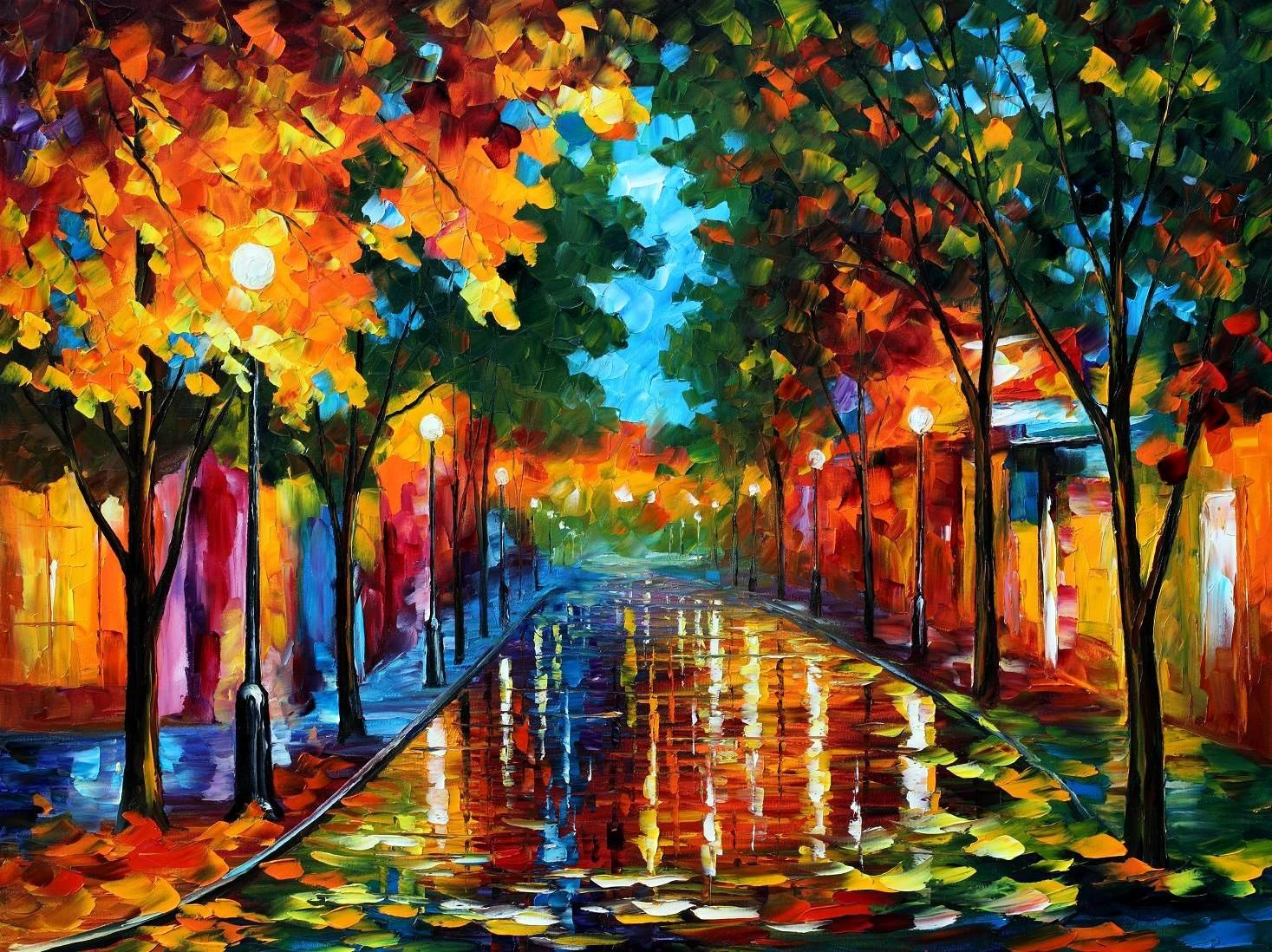 FALLEN LEAFS  PALETTE KNIFE Oil Painting On Canvas By Leonid Afremov -  Size 30