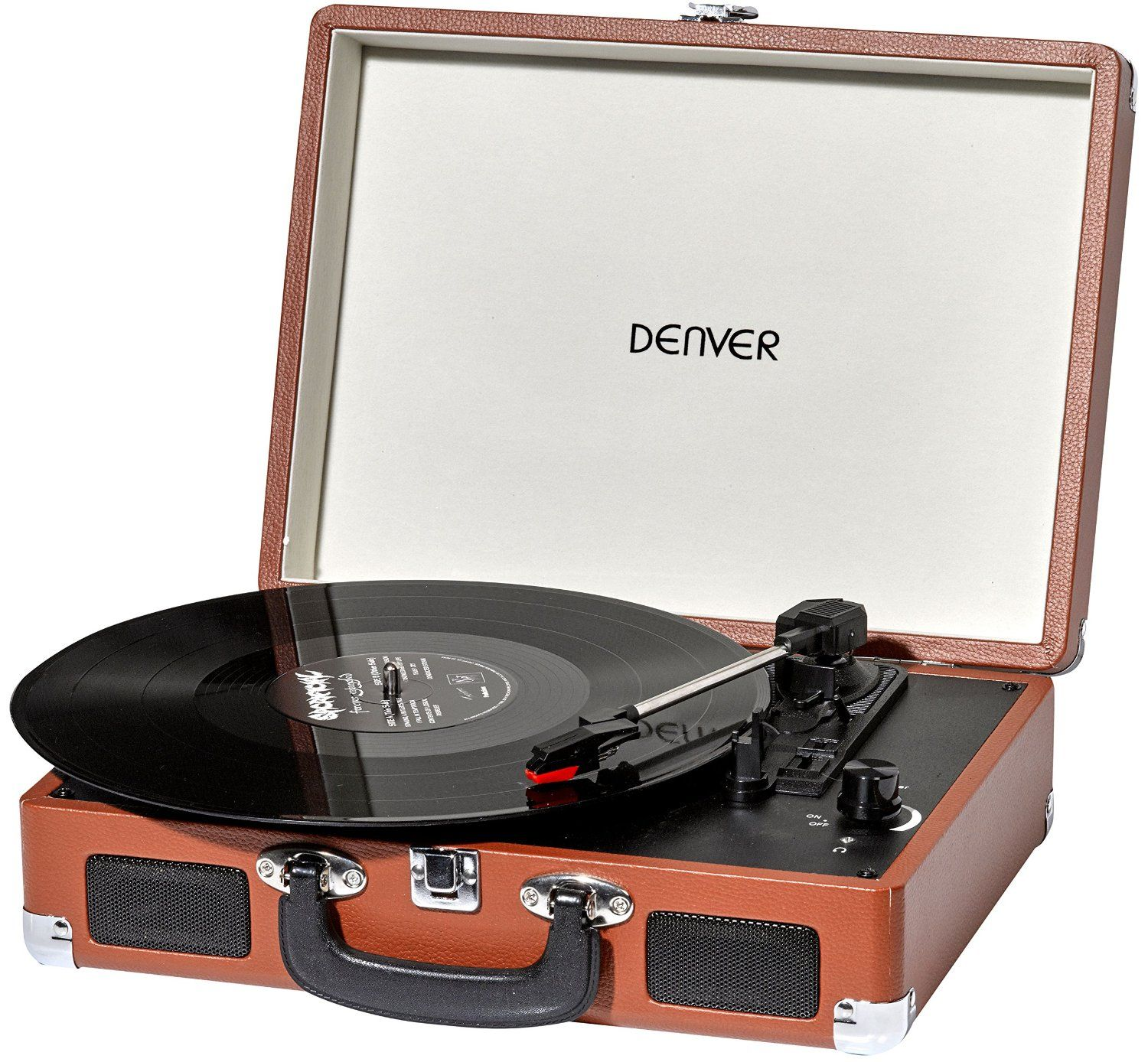 Denver Vpl 120 This Affordable Briefcase Vinyl Record Player Has A Cool Retro Design And Style And Comes In A Classic Bro Pladespiller Vinylplader Hojttalere