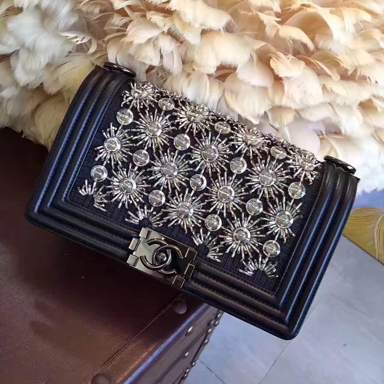 c60697bc8a01 Chanel Black Embroidered Satin/Led/Lambskin with Black Metal Medium Boy  Chanel Flap Bag