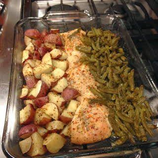 Italian Chicken Potato and Green Bean Bake #chickenrecipes
