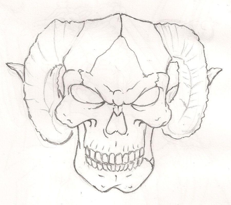 Skull With Horns By Mr P P Hed Deviantart Com On Deviantart
