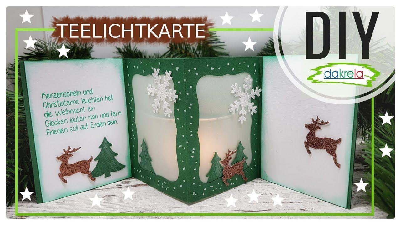Weihnachtskarte Teelichtkarte mit Glitzer Kartenbasteln DIY Papier