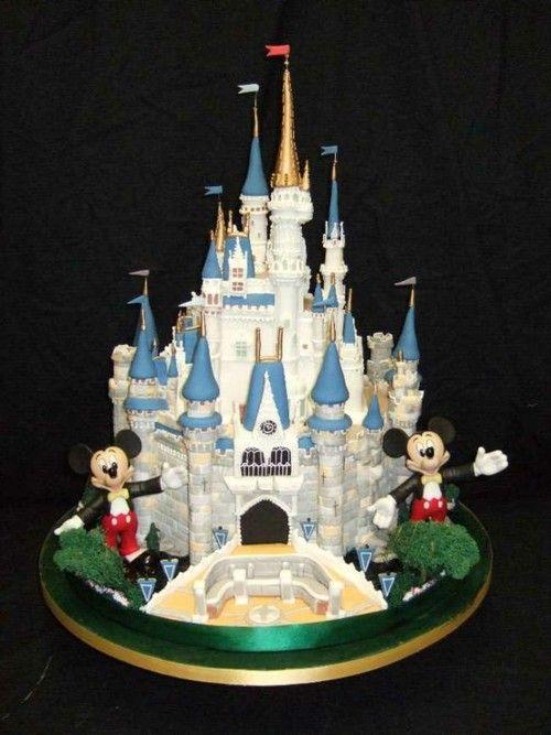 Wedding Cake Disney Castle Mickey Mouse Firework Violet Loop