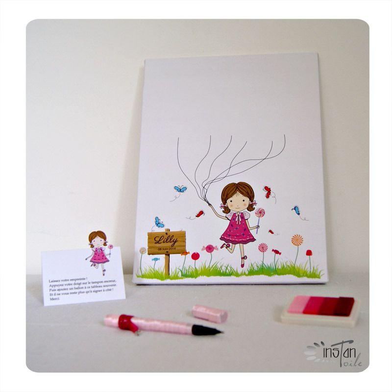 """Tableau à empreintes 24 x 30 cm : """"Fillette courant avec papillons et fleurs en bonbons"""" pour 40 ..."""