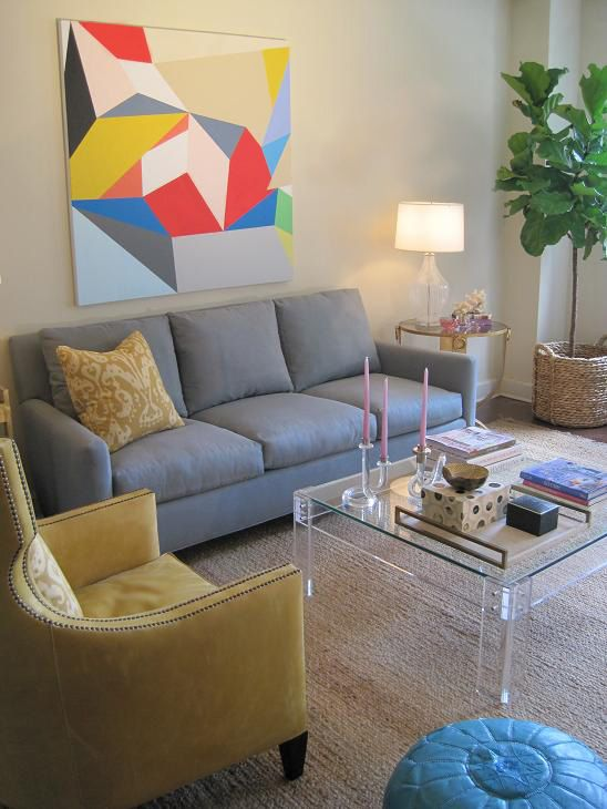 Coffee table vs ottoman modern living room design grey yellow and modern living rooms - Furniture for yellow walls ...