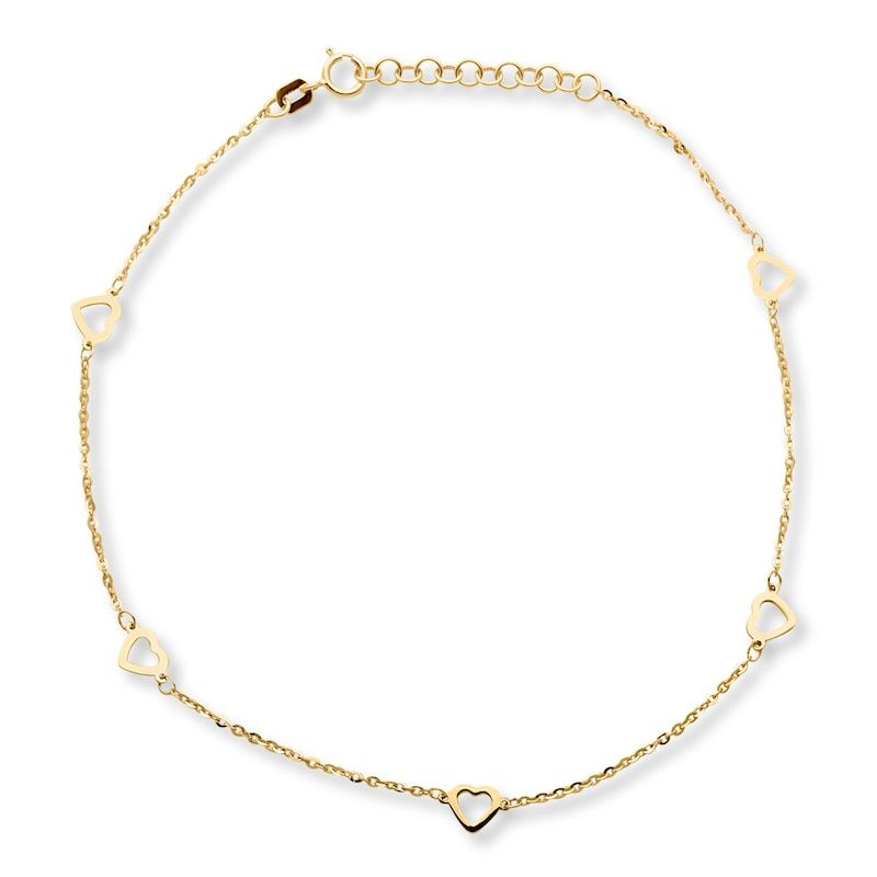 Heart Anklet 10k Yellow Gold Kay In 2020 Heart Anklet Anklet Jewelry Anklet