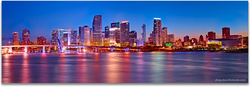 Miami Skyline 1 Panel David Balyeat Photography Store Miami Skyline Skyline Photography Store