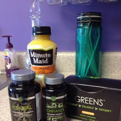 The healthy way to start my day! Greens, It's Vital and Confianza!!