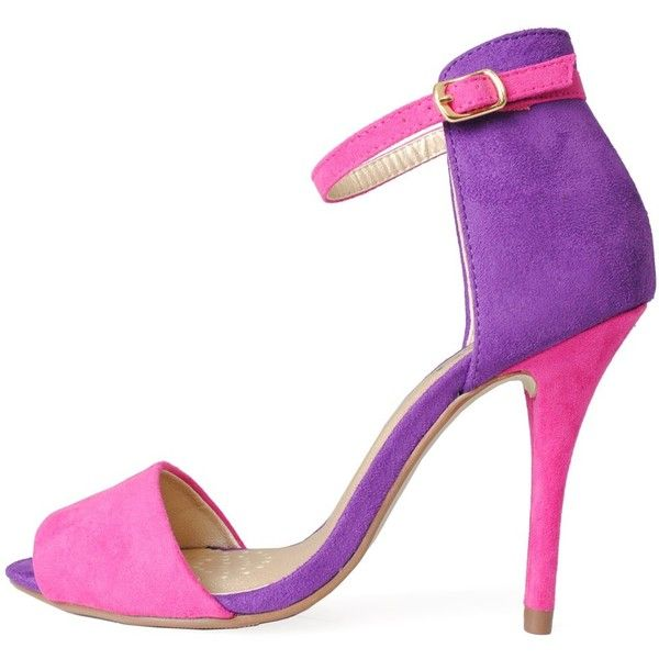 Kristi Colour Block Ankle Strap Sandals in Fushia ($34) ❤ liked on Polyvore featuring shoes, sandals, heels, high heels, purple, party sandals, ankle strap high heel sandals, heeled sandals, suede shoes and color block sandals