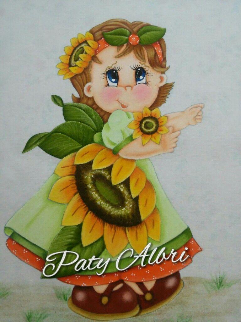 Pintura textil ni a girasol pintado por paty albri mis - Dibujos para pintar en tela infantiles ...