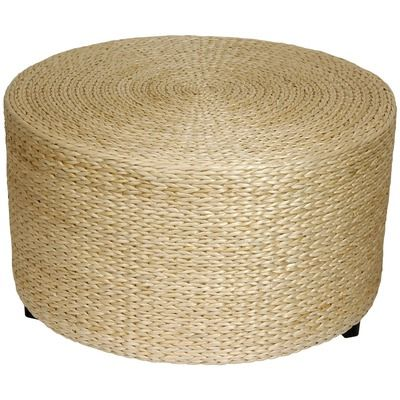 Oriental Furniture Rush Grass Coffee Table/Ottoman in Natural ...