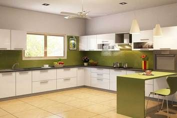 Teppan L Shaped Modular Kitchen White Pearl