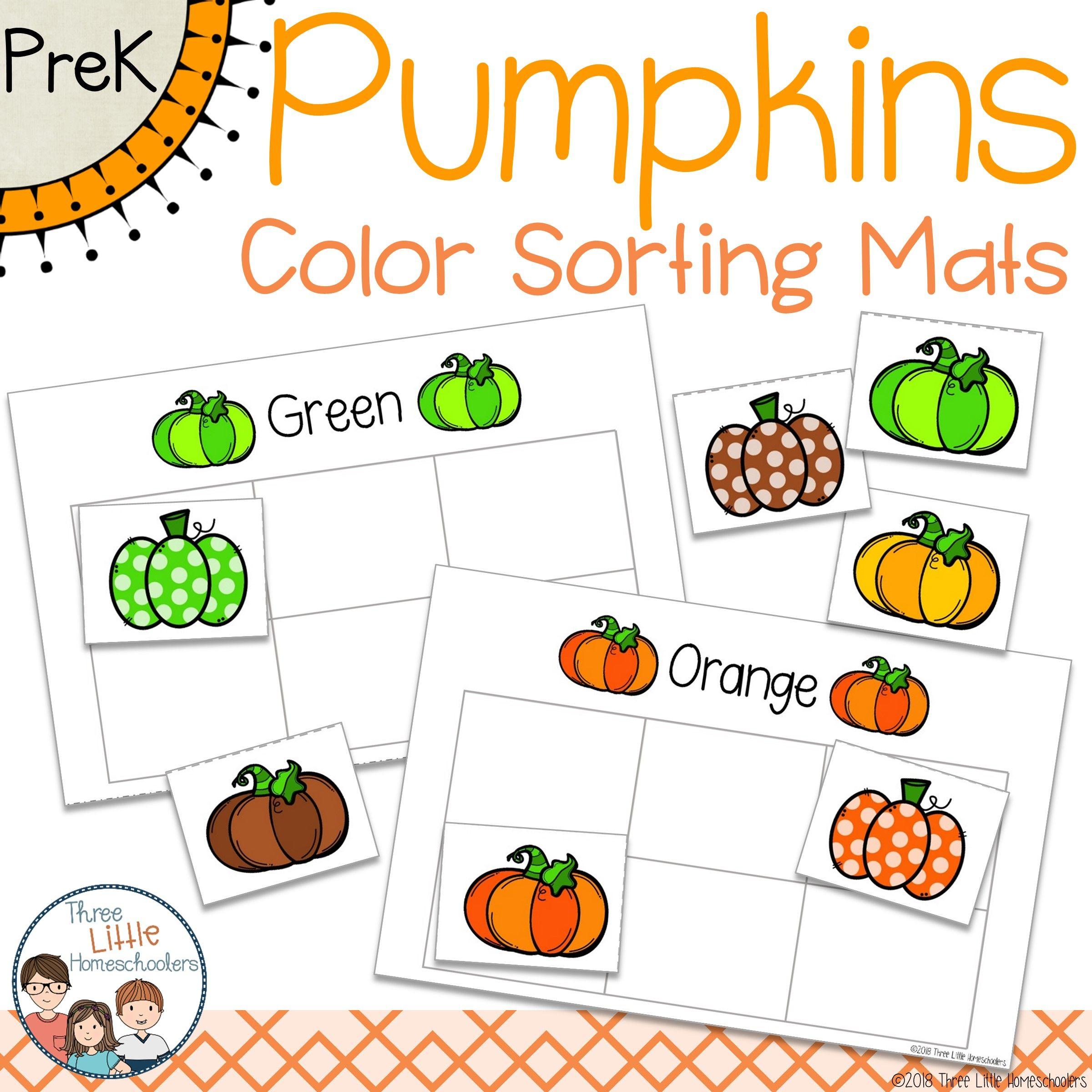 Pumpkins Color Sorting Mats And Worksheets