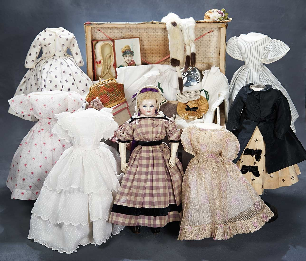 "Theriault's - 14"" Early Petite French Porcelain Poupee with Extensive Trousseau and Accessories in Trunk"