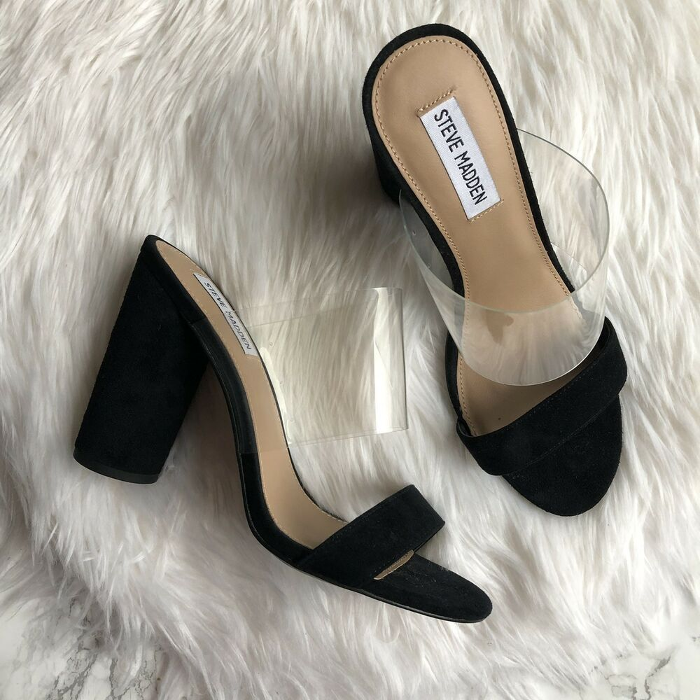 7268233bc70 Steve Madden Cheers Black Leather Open Toe Slides Mules Sandal Heels Womens  8.5  SteveMadden  Mules