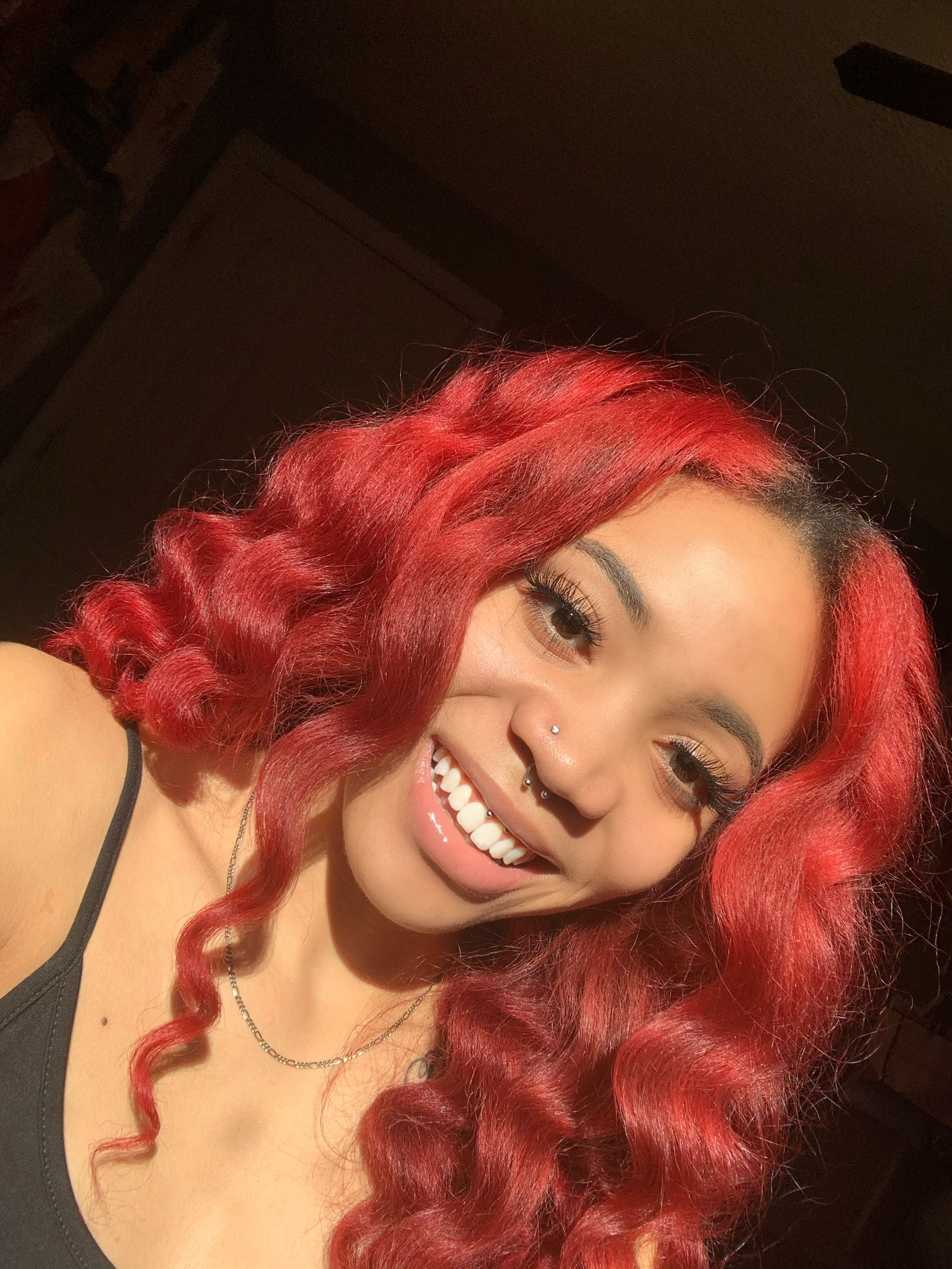 #wandcurls #adorehaircolor #redhair #naturalhairstyles #naturalbeauty #septumpiercing  #smileypiercing