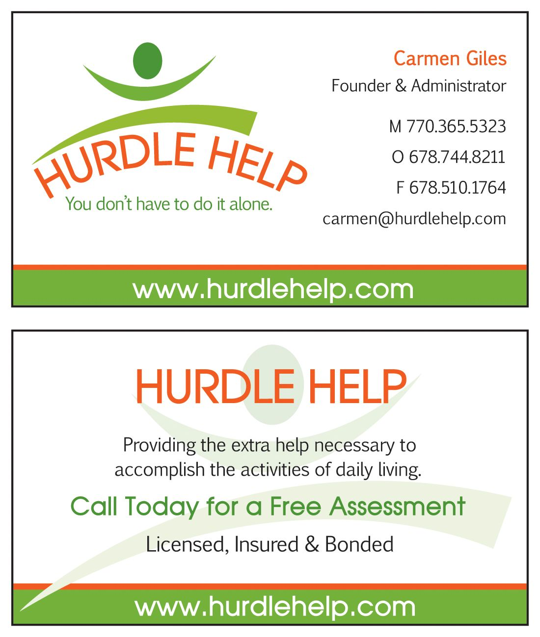 Business card design and layout created for Hurdle Help, a