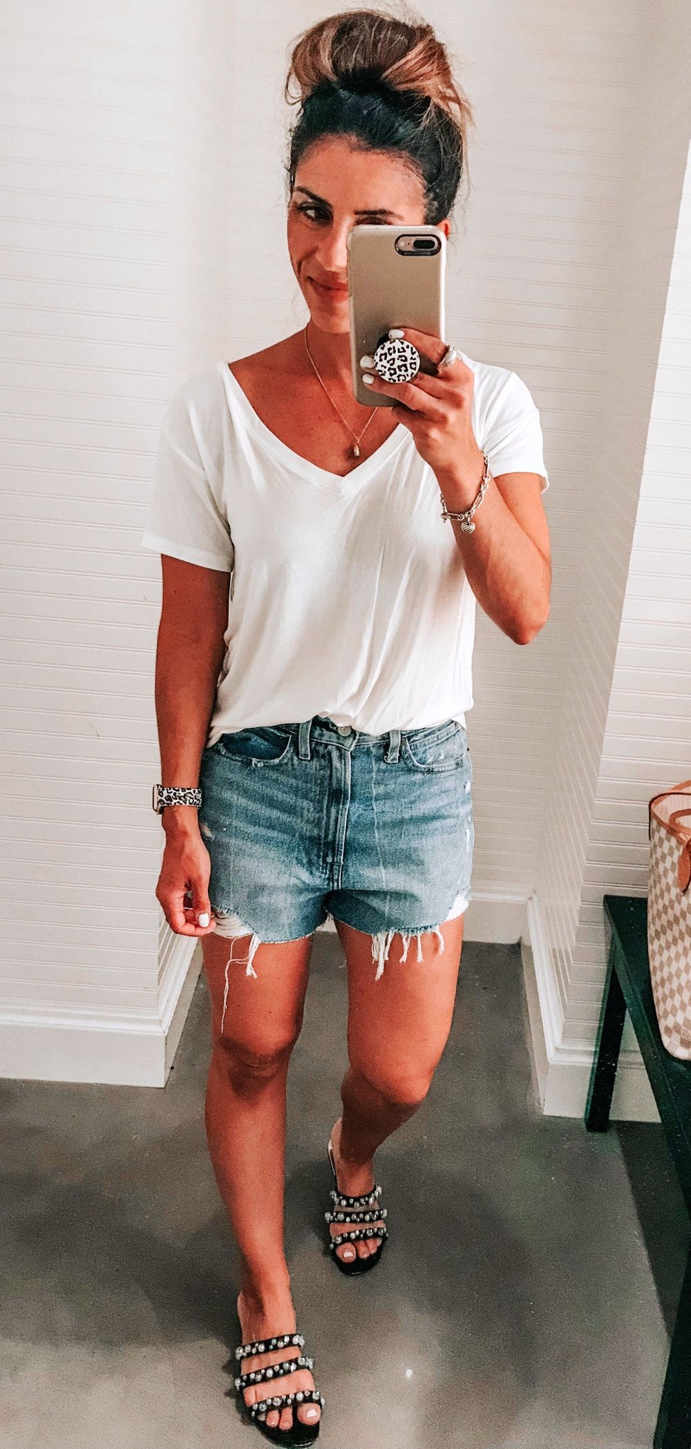 #summer #outfits white V-neck shirt and blue denim shorts