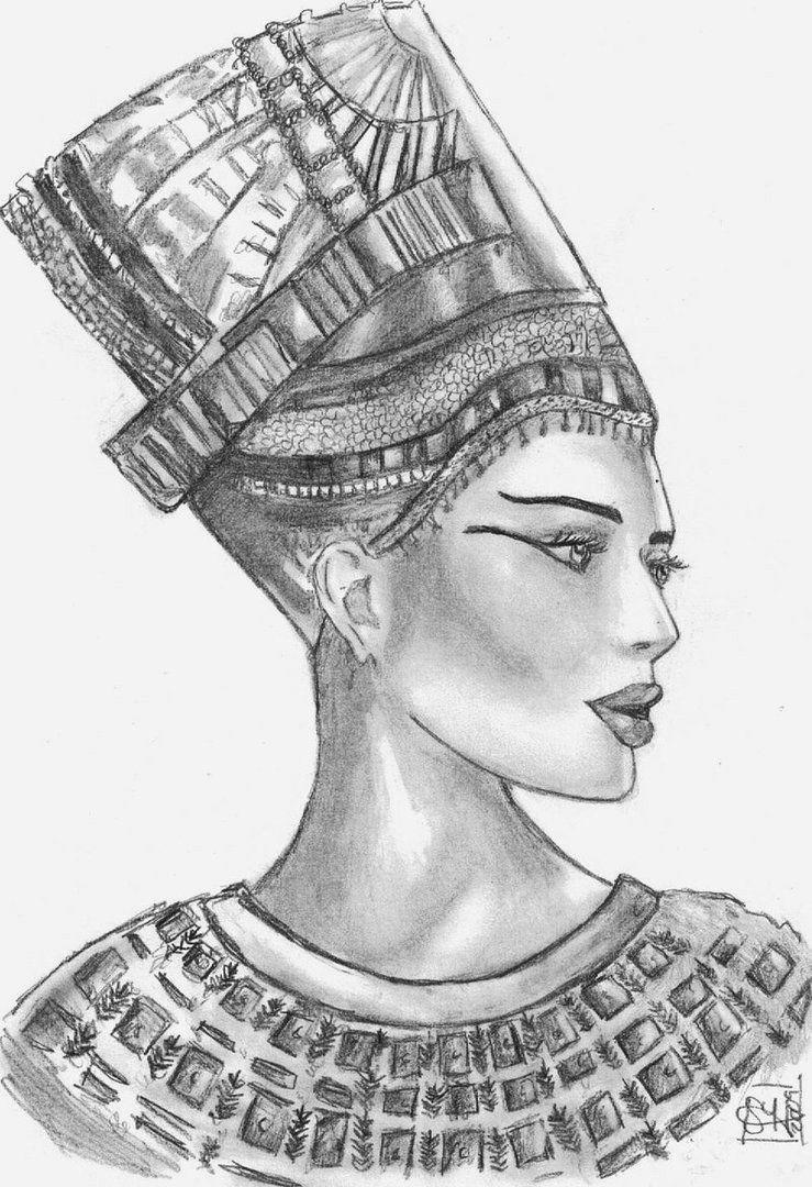 Black Nefertiti Drawing : black, nefertiti, drawing, Black, Egyptian, Queen, Nefertiti, Tattoo, Drawing, Design., Goddess, Tattoo,