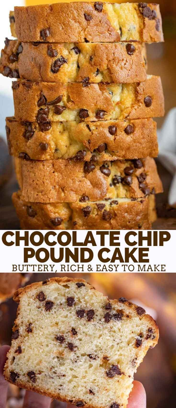 Chocolate Chip Pound Cake is the PERFECT combo of buttery, rich and soft pound cake with sweet chocolate chips baked in just 60 minutes! cake poundcake bundtcake baking chocolate chocolatechips  is part of Chocolate chip pound cake -