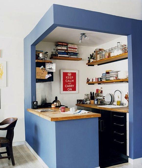 Kleine Küche mit Theke in blau Fantastisch! Küche individuelle