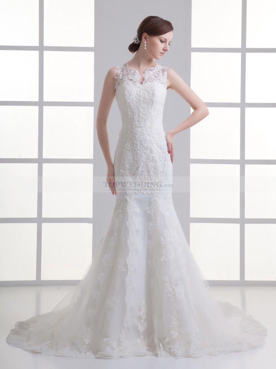 Lace mermaid wedding dress with train  Sleeveless Allover Lace Mermaid Gown with Court Train  Lace mermaid