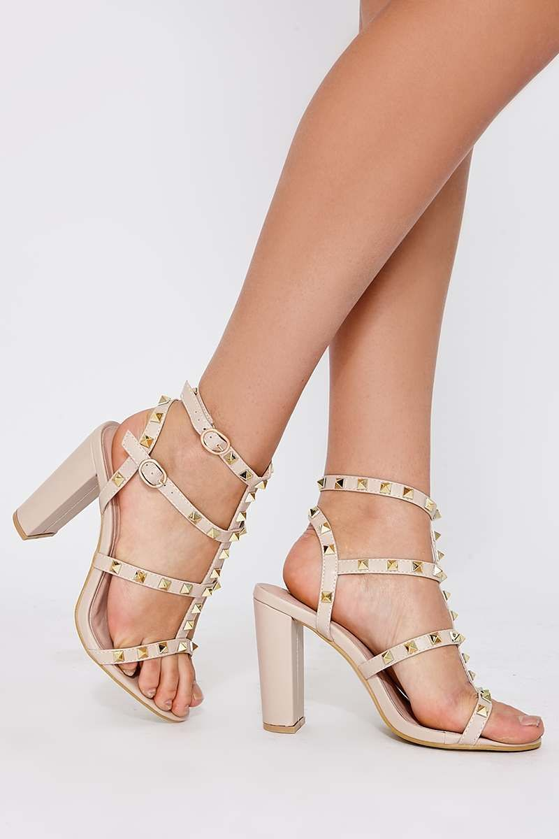 183cf506cb9 Wyatt Nude Faux Leather Studded Strap Sandal Heels. Next day delivery  available until 10pm.