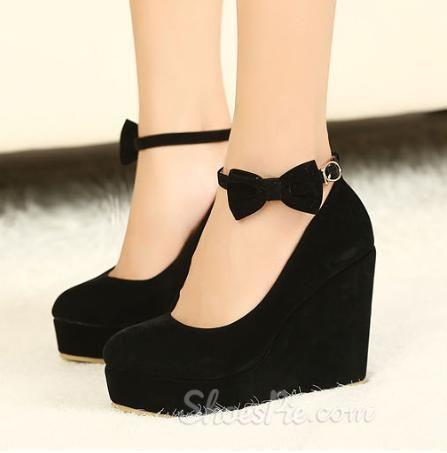 Shoespie Hot Sale Black Wedge Heels