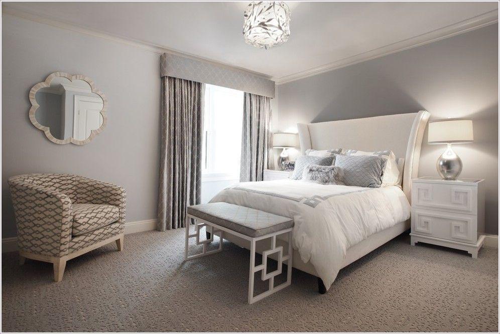 New York Bedroom Bench Beige Armchair Beige Bed Beige Carpet Beige
