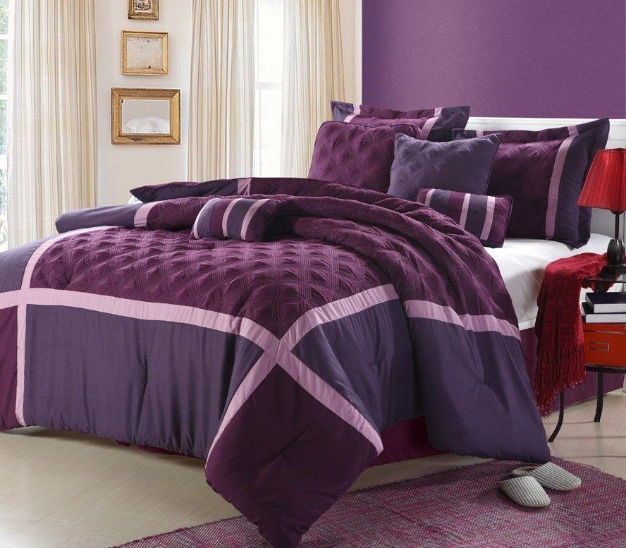12pc QNC. Plum/Purple Luxury Size: Queen Sheet Set Color: Light Blue ...