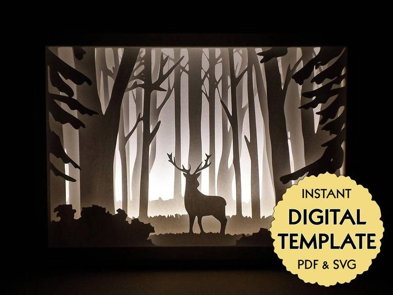 Deer In The Woods Svg Shadow Box Template Night Light 3d Etsy 3d Shadow Box Shadow Box Custom Shadow Box