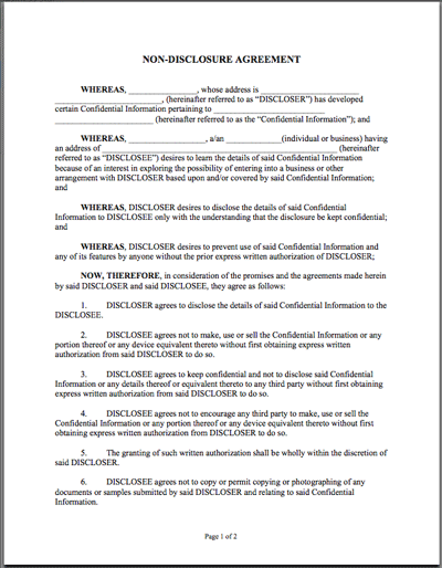 Printable Sample Non Disclosure Agreement Sample Form – Standard Confidentiality Agreement