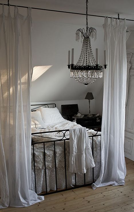 wrought iron + drapes + chandelier My style Pinterest Space