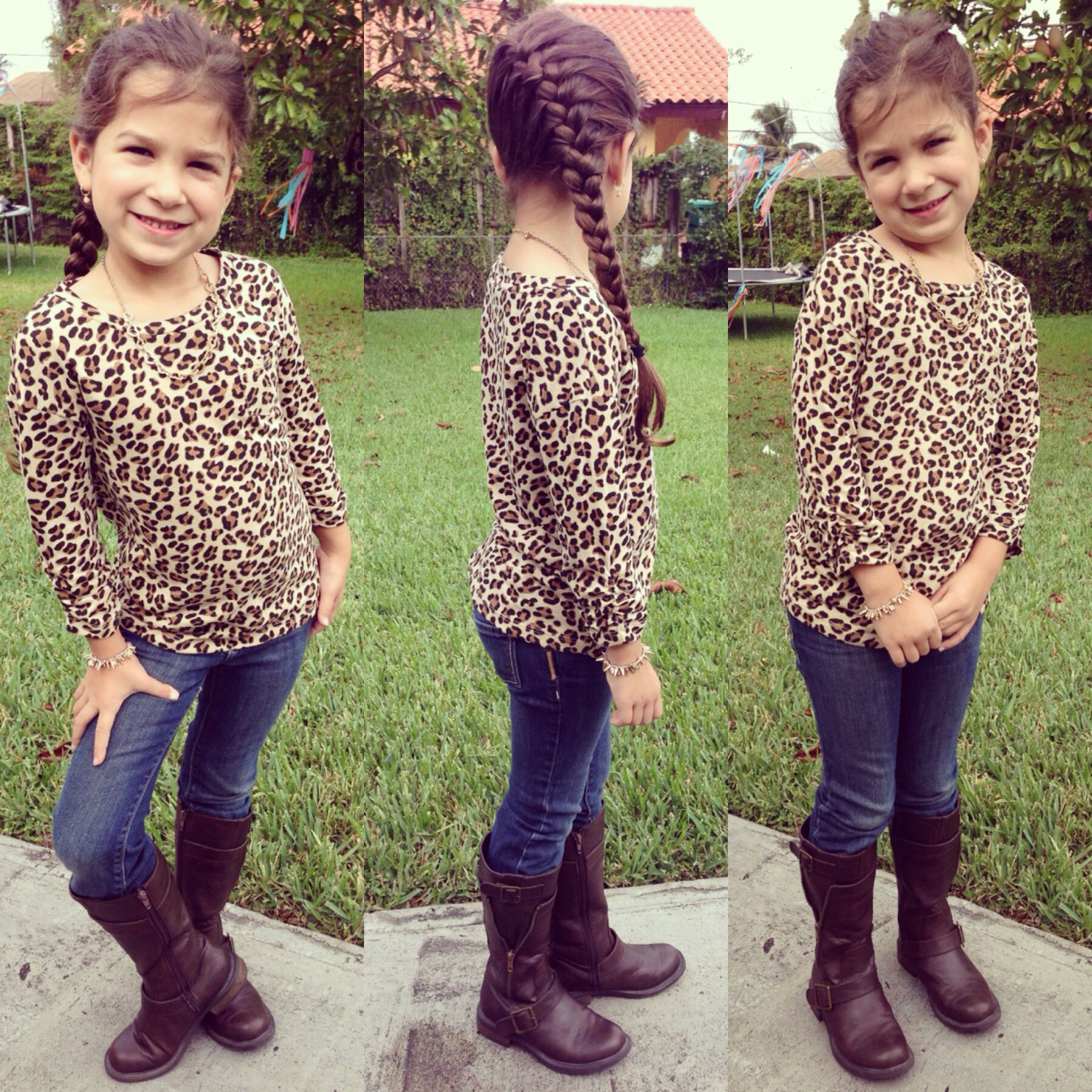 Little girl outfit leopard print top jeans brown boots and