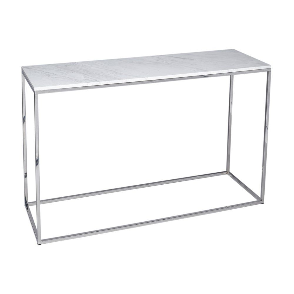 £529   White Marble And Silver Metal Console Table