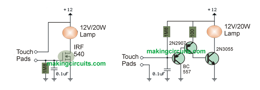 Simple Touch Sensitive Switch Circuit Circuit Sensitive Touch