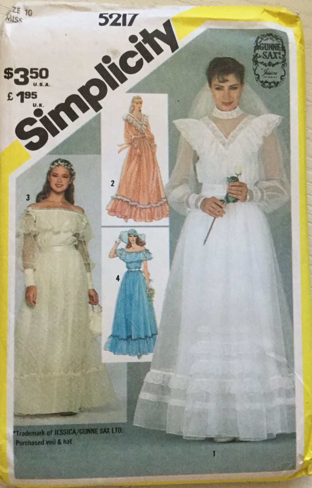 Pin by jeanns two girl pugs bonanza on wedding dresses simplicity 5217 misses bridal bridesmaid dresses by gunne sax size 10 dress patterns ukwedding dress patternssewing ombrellifo Gallery