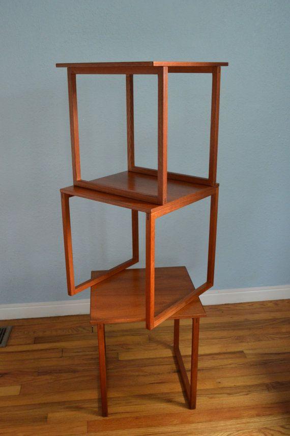 Danish Modern Teak Cube Nesting Tables By Kai Kristiansen   Set Of 3