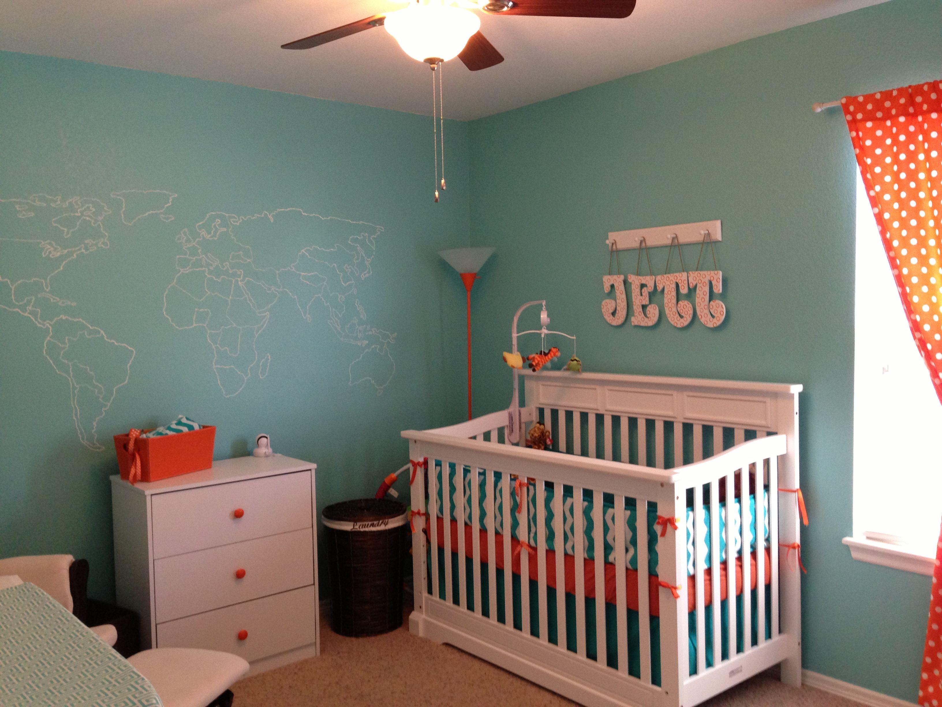 Turquoise And Orange Nursery Nursery Pinterest