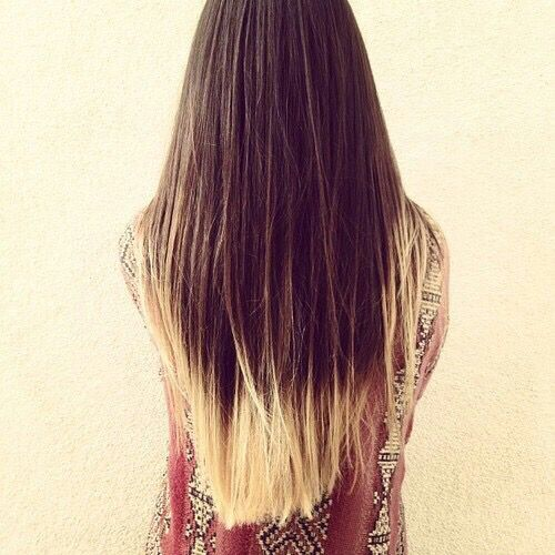 Half Brown Half Blonde Dip Dye Hair Blonde Dyed Blonde Hair