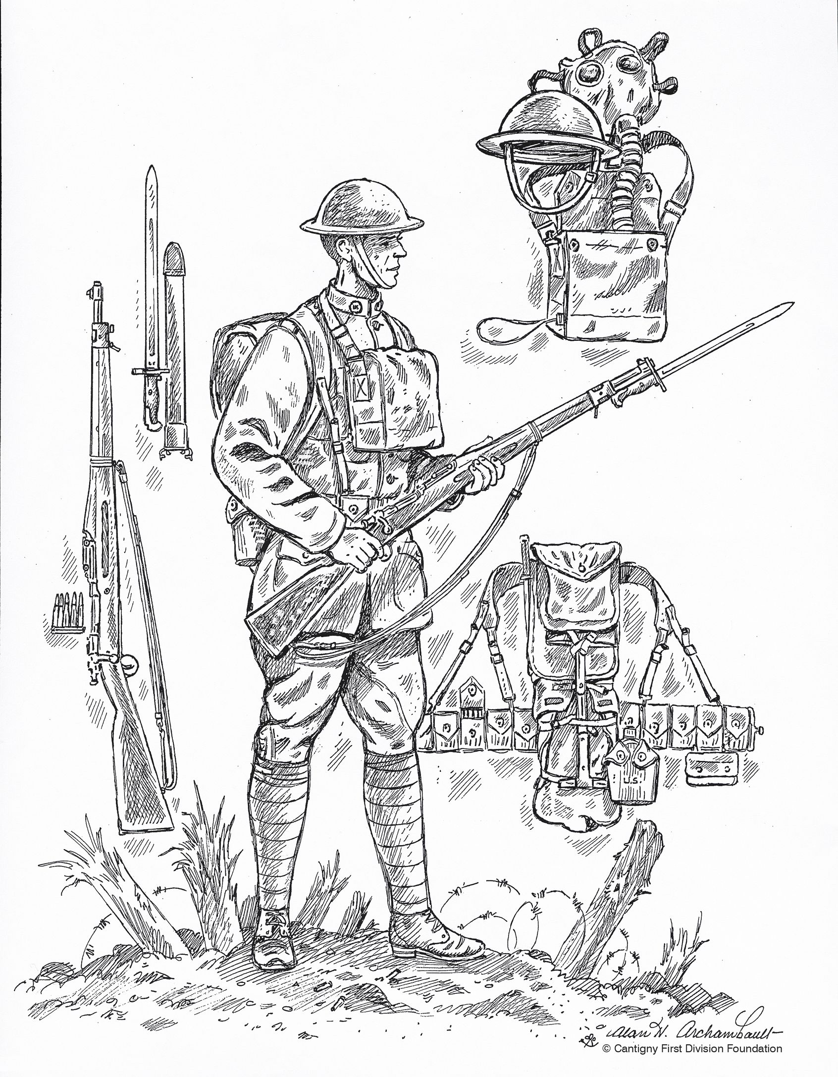 WW1 Coloring page from First Division Museum Soldier