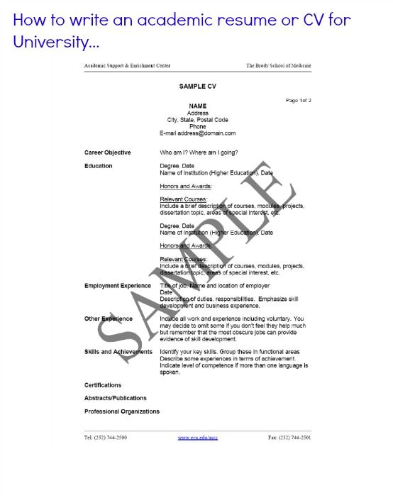Academic Resume How To Write An Academic Resume Or Cv For University Resume