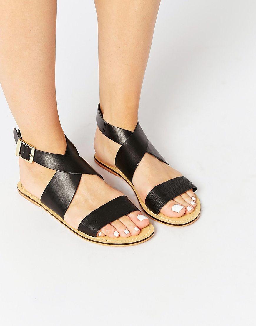FAVOUR Leather Tassel Flat Sandals - Black Asos mAPkkI5zYj