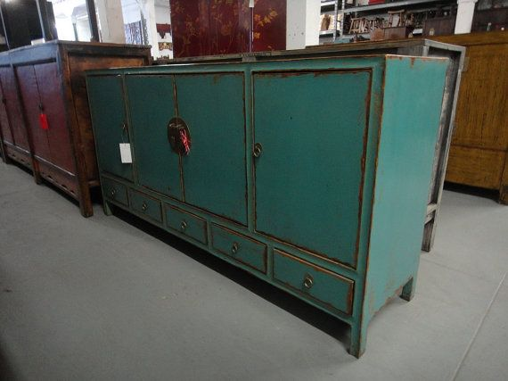 Nice Asian Inspired Turquoise Media Cabinet/Console Los By Housecandyla, $1599.00