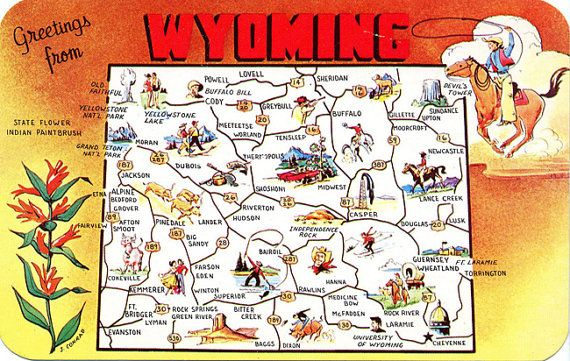 Wyoming State Map Vintage Chrome Greetings Postcard Unused - Map wyoming state